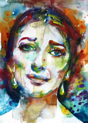 MARIA CALLAS - watercolor portrait.2 by superlautir