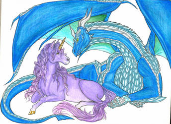 dragon and unicorn by mylovelyghost