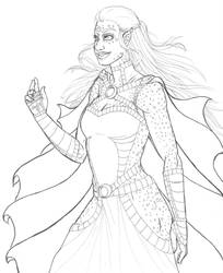 Andromedan lineart  by mylovelyghost