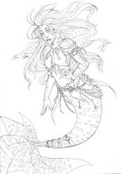 mermay lineart  by mylovelyghost
