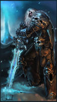 Arthas and Frostmourne by Kharnage