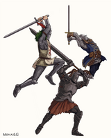 Dark Souls: Solaire, Tarkus and Oscar by MenasLG