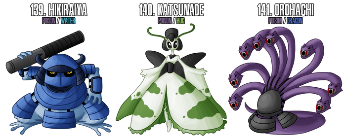 Fakemon: 139 - 141 - Legendary Ninja trio by DrCrafty