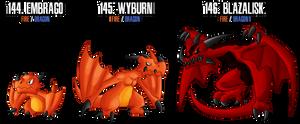 Fakemon: 144 - 146 by DrCrafty