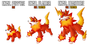 Fakemon: EX157-EX159 Alternate Fire starters 2 by DrCrafty