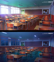 Commission Work - Classroom VN Background by ombobon
