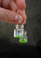 Tiny Totoro Bottle Earrings by egyptianruin