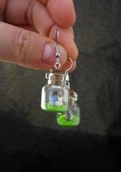 Tiny Totoro Bottle Earrings by egyptianruin