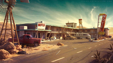 Dark Days : motel environment concept by Tohad