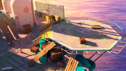 Streamline concept-art : offshore helipad by Tohad
