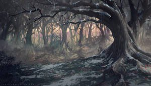 Netflix Castlevania Background : Big tree by Tohad