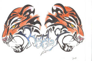 3d tiger tribal tattoo by ShadowWolf37