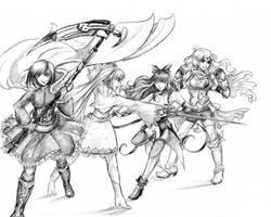 Team RWBY sketch by sakohju
