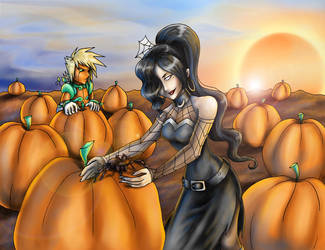 Spider in the Pumpkin Patch by sakohju