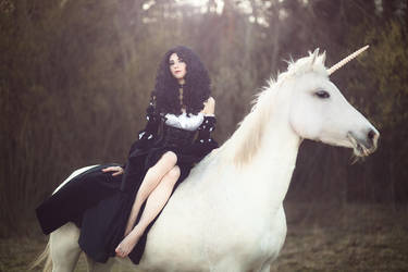 Yennefer and unicorn by GreatQueenLina