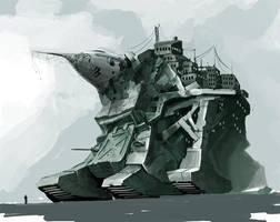 Post-apocalyptic fortress-tank by Gin-sensei