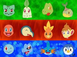 Starter Pokemon Wallpaper by BlackBirdo