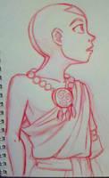 Aang sketch - red pencil by AmiraElizabeth
