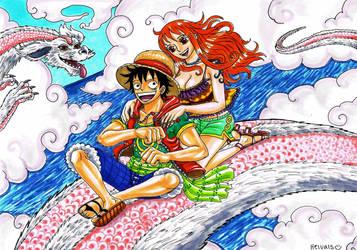 Luffy x Nami, Falkor by heivais