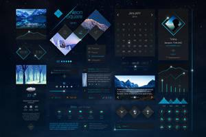 Neon Square UI Kit by sandracz