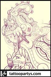 quetzalcoatl tattoo sleeve by dacreativegenius