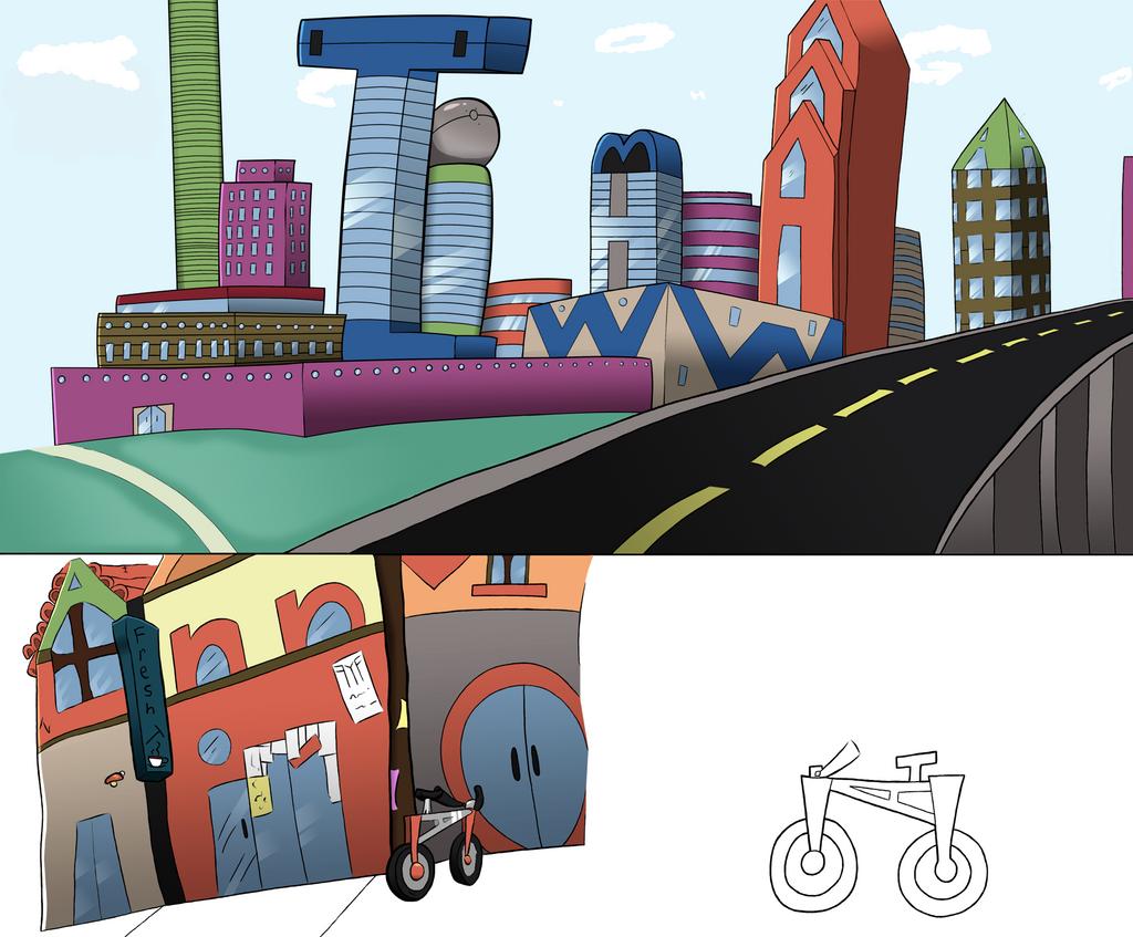 T city scape!! colored by negativesanchez98