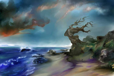 Old Tree by the Sea by longhairedartist