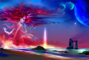 Kali- Goddess of the Passing Sun by longhairedartist