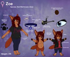 Main Fursona: Zoe Ref. Sheet - Anthro .:2016:. by ScottishRedWolf