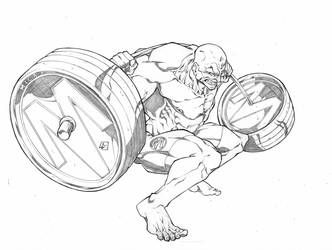 Squat Guy looking like Hulk Commission by marvelmania