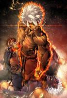 Violent KEN vs Evil RYU n Oni AKUMA by marvelmania