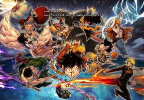 ONE PIECE ALL TOGETHER - MUGIWARA CREW colored by marvelmania