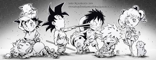 Anime Kids together by marvelmania