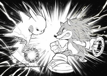 Pikachu vs Sonic Collab by marvelmania