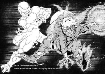 FRIEZA (DragonBall) vs NARUTO (naruto) collab by marvelmania