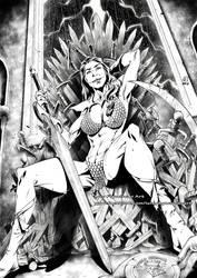 MIRIAM NAKAMOTO as Red Sonja commission by marvelmania