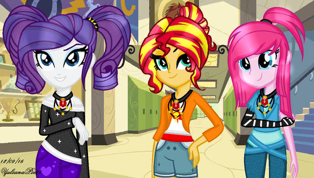MLP EG  Dazzlings  Rarity, Sunset And Pinkie!! by YulianaPie26