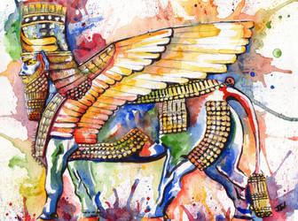 Assyrian winged bull by IsabelleWallgren