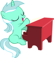 Filly Lyra Playing Piano (Vector) by ArtPwny