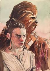 Rey and Chewie by mattgoodall