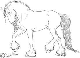 Draft Stallion Lineart by Rosela-Kitsuna