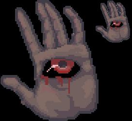 Pixel hand with an eye by VishKeks