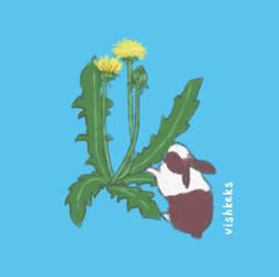 Rabbit and dandelion by VishKeks