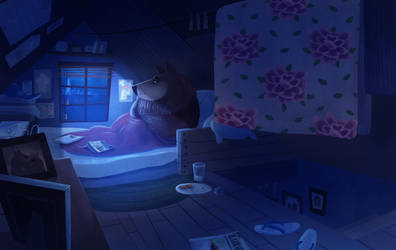 Night in the attic by l3onnie