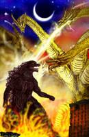 Godzilla Vs King Ghidorah by LucasCGabetArts