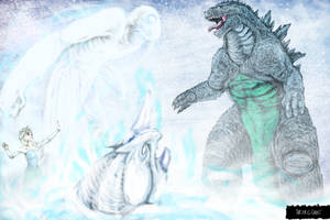 Godzilla Versus Elsa and the Snow Monsters by LucasCGabetArts