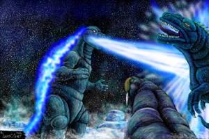 Godzilla Vs Gorosaurus and Maguma by LucasCGabetArts