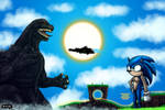 Godzilla and Sonic by LucasCGabetArts