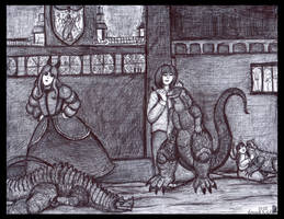 The Beaumont Sisters in the Dragon Room by LucasCGabetArts