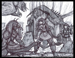 Ghaalinda and Felicity Fight the Dracogriffs by LucasCGabetArts